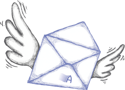 illustration of envelope with wings