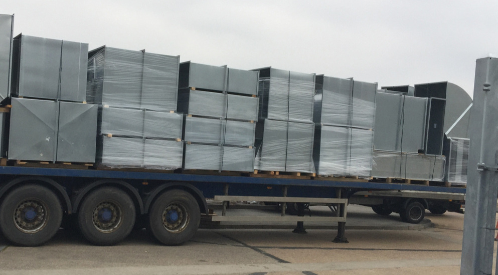 Ducting loaded on a lorry for delivery